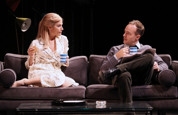 Lisa Dwan as Stella and Patrick Kennedy as James in a scene from The Collection, directed by Michael Kahn, at Shakespeare Theatre Company.