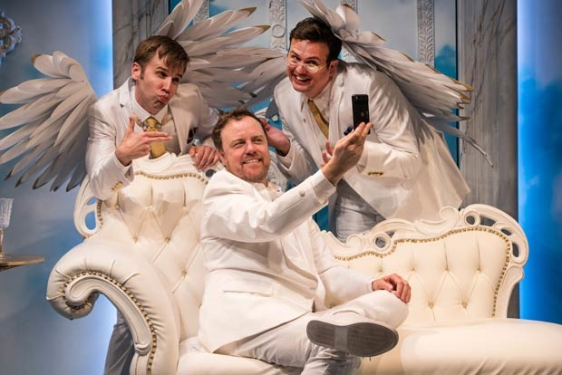 Evan Casey, Tom Story, and Jamie Smithson star in An Act of God, directed by Eleanor Holdridge, at Signature Theatre.
