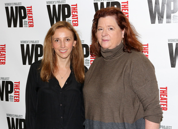 Director Adrienne Campbell-Holt and playwright Theresa Rebeck grab a photo together.
