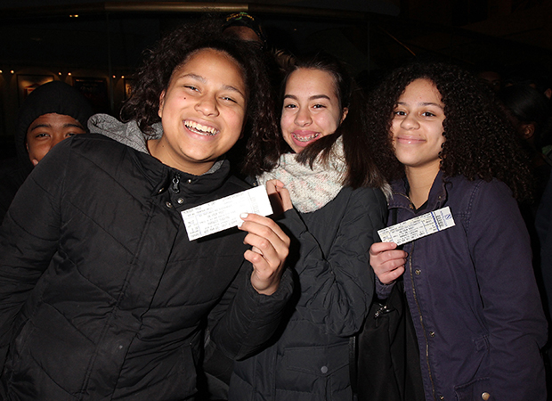 High School students with the Broadway Bridges program attend a performance of On Your Feet!