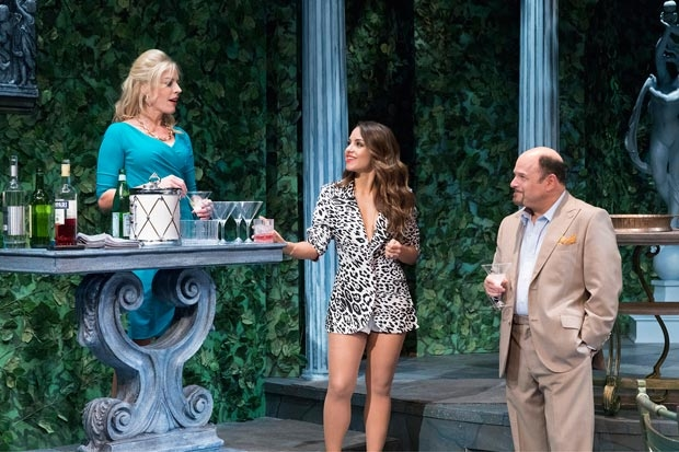 From left to right, Sherie Rene Scott, Aimee Carrero, and Jason Alexander in Manhattan Theatre Club's world premiere production of John Patrick Shanley's The Portuguese Kid, which was just extended through December 3.