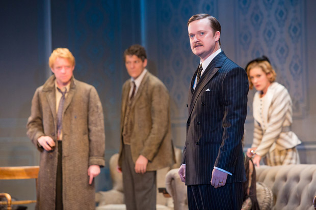 Steven Boyer (foreground) plays Ernest in the Broadway revival of J.B. Priestley's Time and the Conways.