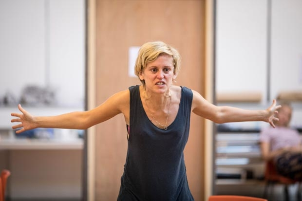 Olivier Award winner Denise Gough rehearses People, Places & Things under the direction of Jeremy Herrin for its run at St. Ann's Warehouse.