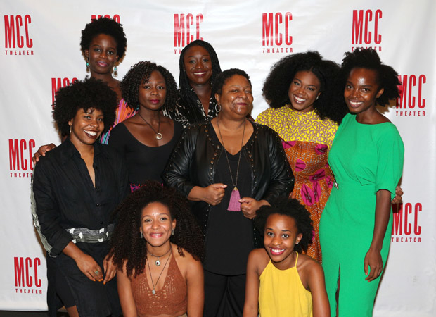 Jocelyn Bioh (rear) and the cast of School Girls.