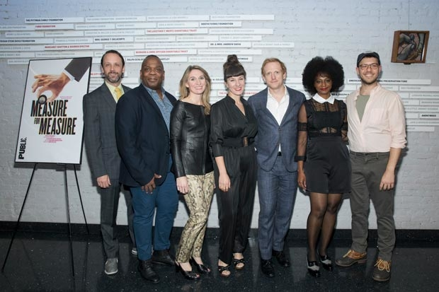 Company members Mike Iveson, Greig Sargeant, Rinne Groff, Maurina Lioce, Scott Shepherd, April Matthis, and Gavin Price celebrate opening night of Measure For Measure at the Public Theater.