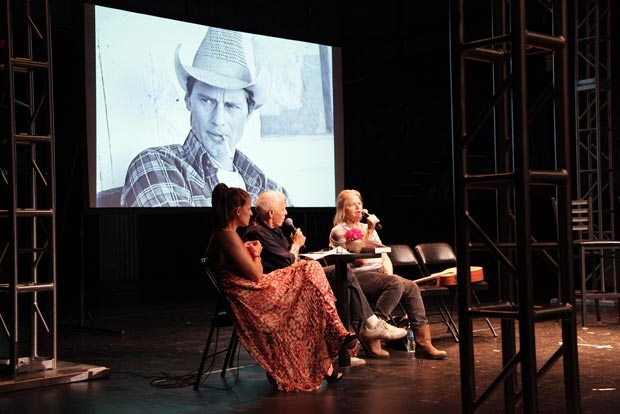 Michal Gamily (left) and and Sandy Rogers (right) discuss the life and work of Sam Shepard in a panel moderated by Jean Claude van Itallie (center).