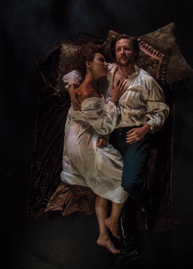 Whitney Maris Brown and Jon Barker star in Shakespeare in Love, directed by Bonnie J. Monte, at the Shakespeare Theatre of New Jersey.