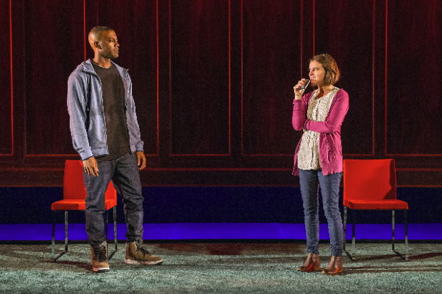 Joshua Boone and Alexandra Socha in the Williamstown Theatre Festival production of Anna Ziegler's Actually.