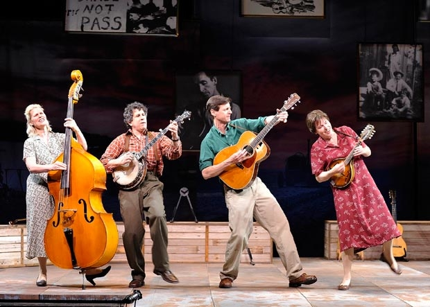 Helen Jean Russell, Andy Teirstein, David M. Lutken, and Darcie Deaville in the original cast of Woody Sez.