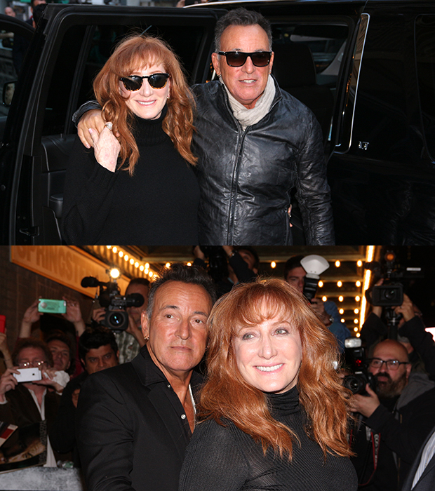 Bruce Springsteen and Patti Scialfa arrive for and depart from the opening night performance of Springsteen on Broadway at the Walter Kerr Theatre.