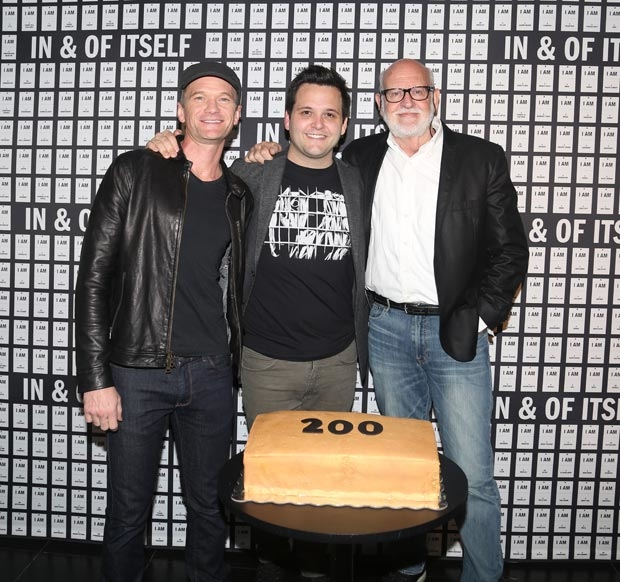 Neil Patrick Harris, Derek DelGaudio, and Frank Oz celebrate 200 performances of In & Of Itself at the Daryl Roth Theatre.