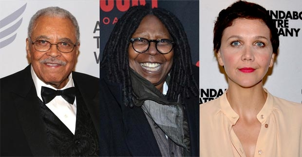 James Earl Jones (left), Whoopi Goldberg (center), and Maggie Gyllenhaal (right) will star in Roundabout Theatre Company's special benefit concert reading of Damn Yankees.