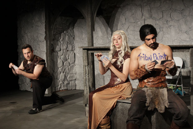 Ryan Pifher, Mandie Hittleman, and Ace Marrero star in Game of Thrones: The Rock Musical — A Unauthorized Parody, directed by Steven Christopher Parker, at the Jerry Orbach Theater.