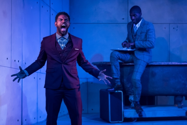 Breon Arzell as Dracula and Maurice Demus as Jonathan in Dracula, directed by Sean Graney at the Mercury Theater.