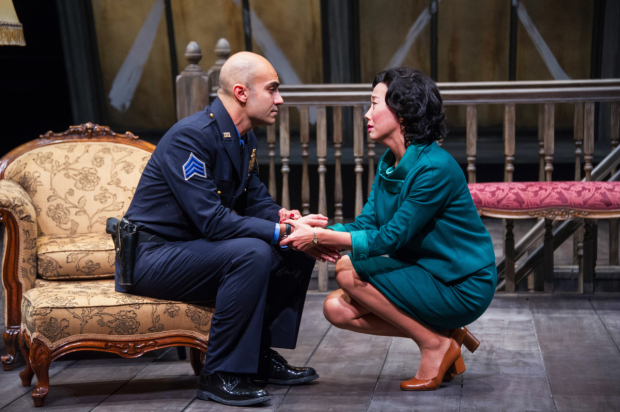 Maboud Ebrahimzadeh as Victor Franz and Pearl Sun as Esther Franz in Arthur Miller's The Price, directed by Seema Sueko, at Arena Stage.