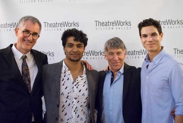 Philip LaZebnik (book), Diluckshan Jeyaratnam (Moses), Stephen Schwartz (music/lyrics), and Jason Gotay (Ramses) gather for a photo on opening night.