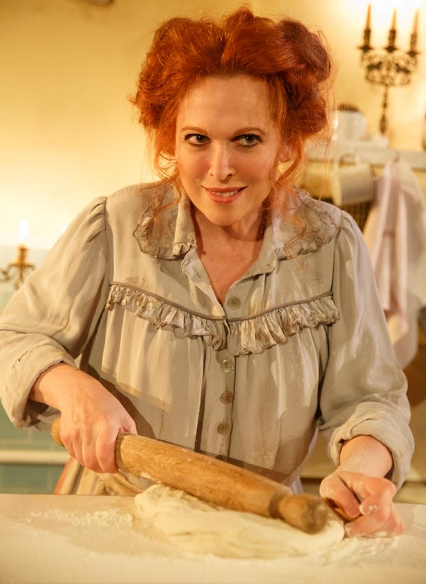 Carolee Carmello in the Tooting Arts Club production of Sweeney Todd: The Demon Barber of Fleet Street, which just sold their 20,000th pie at Barrow Street Theatre.