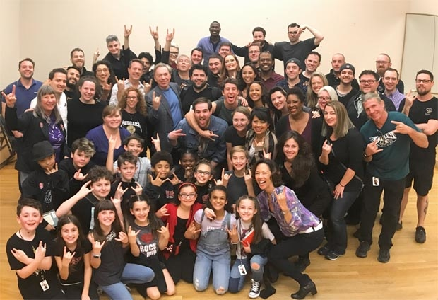 Andrew Lloyd Webber visits the touring cast of School of Rock at the Ohio Theater in Columbus, Ohio.