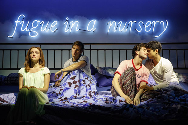 Roxanna Hope Radja, Wade Horton, Michael Urie, and Michael Rosen appear in the second act of Torch Song at Second Stage Theatre.