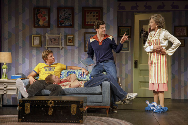 Ward Horton, JackDiFalco, Michael Urie, and Mercedes Ruehl star in Torch Song off-Broadway.