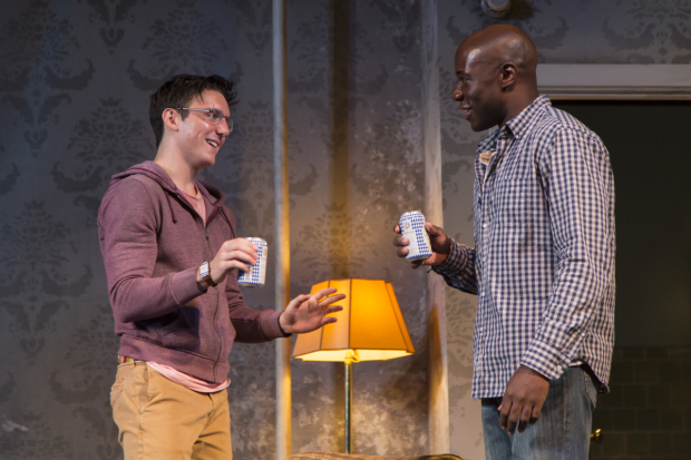 Samuel H. Levine and McKinley Belcher III in a scene from A Guide for the Homesick, directed by Colman Domingo at the Huntington Theatre Company.
