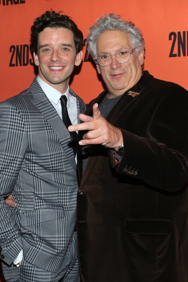 Michael Urie and Harvey Fierstein celebrate opening night of Torch Song at Second Stage Theater.