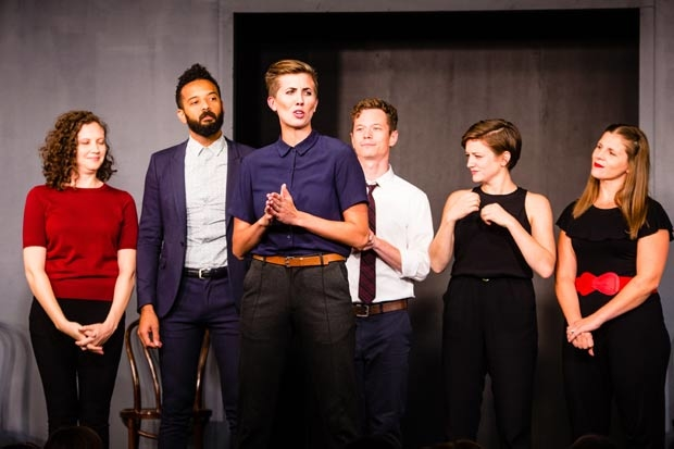 Second City's Laurel Krabacher, Ian Owens, Emily Fightmaster, Scotty Nelson, Carley Moseley, and Jo Scott.