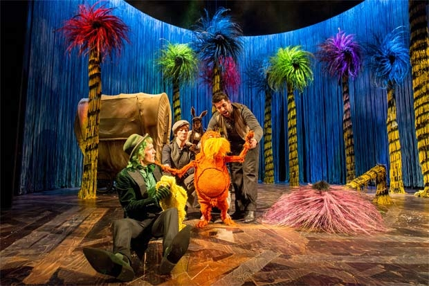 The cast of Dr. Seuss's The Lorax at The Old Vic, 2015.
