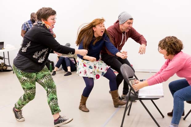 Cast members rehearse The Stowaway, the latest production from Trusty Sidekick Theater Company, to receive its world premiere at Classic Stage Company in November.