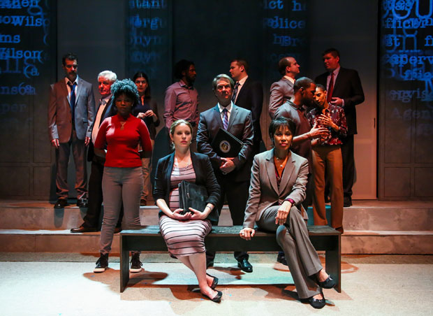 The cast of Ferguson, directed by Jerry Dixon, at 30th Street Theatre.