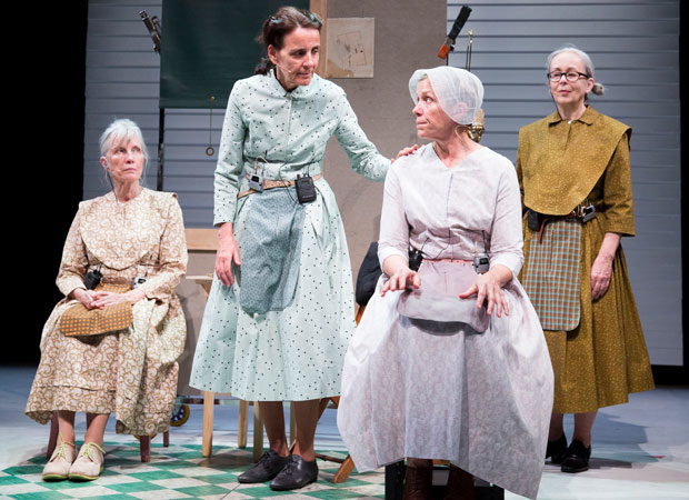 Elizabeth LaCompte, Suzzy Roche, Frances McDormand, and Cynthia Hedstrom in Early Shaker Spirituals at the Performing Garage.