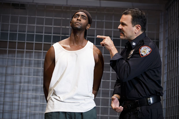 Edi Gathegi plays Lucius, and Ricardo Chavira plays Valdez in the off-Broadway revival of Jesus Hopped the 'A' Train.
