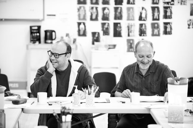 Danny Burstein and Zach Grenier in the rehearsal room for Describe the Night, directed by Giovanna Sardelli, at the Atlantic Theater Company.