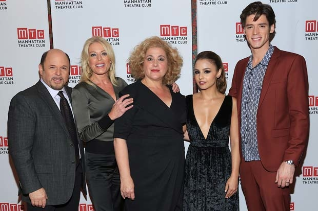 Jason Alexander, Sherie Rene Scott, Mary Testa, Aimee Carrero, and Pico Alexander, the stars of The Portuguese Kid, celebrate opening night.