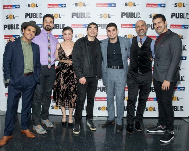 The company of Oedipus El Rey celebrate opening night at The Public Theatre.