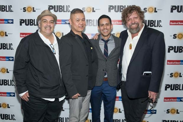 Playwright Luis Alfaro, director Chay Yew, Sol Project artistic director Jacob G. Padron, and Public Theater artistic director Oskar Eustis celebrate opening night.