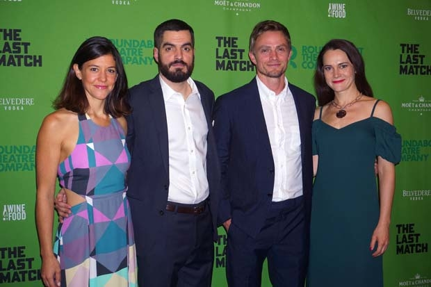 The cast of The Last Match celebrate opening night at Roundabout Theatre Company's Laura Pels Theatre.