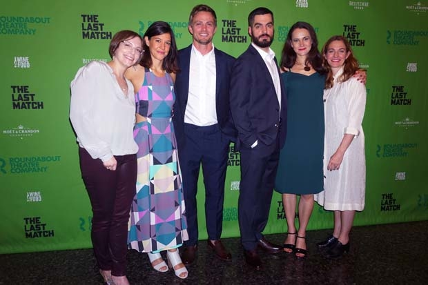 Playwright   Anna Ziegler gets a photo with stars Zoe Winters, Wilson Bethel, Alex Mickiewicz, Natalia Payne, and director Gaye Taylor Upchurch.