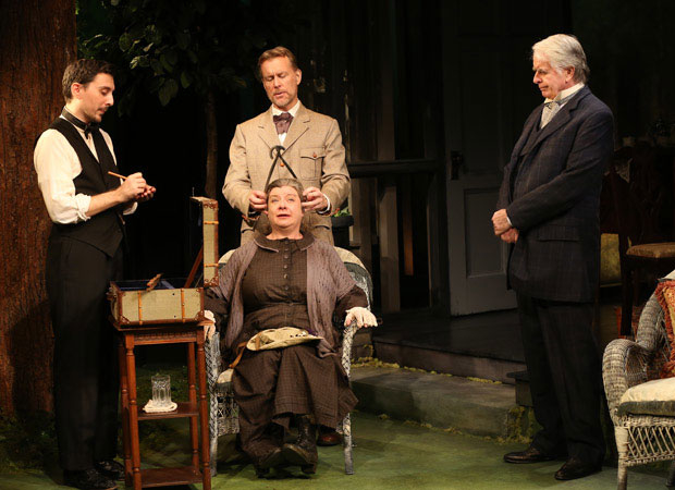 Stephen Pilkington, Christopher Randolph, Polly McKie, and John Windsor-Cunningham in a scene from The Home Place, directed by Charlotte Moore at the Irish Repertory Theatre.