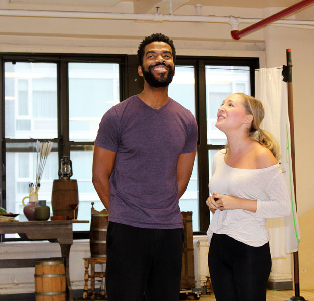 Julius Thomas III and Jillian Gottlieb rehearse a scene.