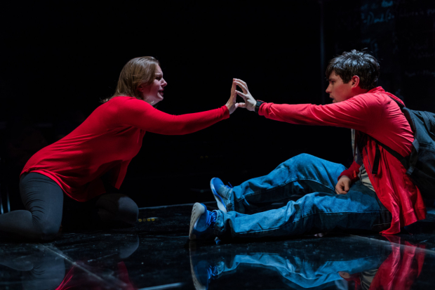 Laura Latreille and Eliott Purcell in SpeakEasy Stage Company's production of The Curious Incident of the Dog in the Night-Time, directed by Paul Daigneault.