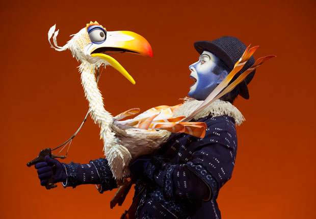 Jeffrey Kuhn as Zazu in The Lion King, which debuts a new Snapchat Lens today to celebrate the show's 20th anniversary.
