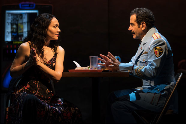 Katrina Lenk and Tony Shalhoub star in The Band's Visit, directed by David Cromer, at the Ethel Barrymore Theatre.