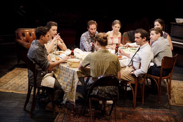 The company of Richard Nelson's Illyria sits down to eat.