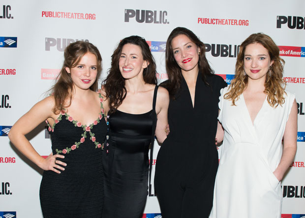 The women of Illyria, written and directed by Richard Nelson, celebrate opening night at the Public Theater.