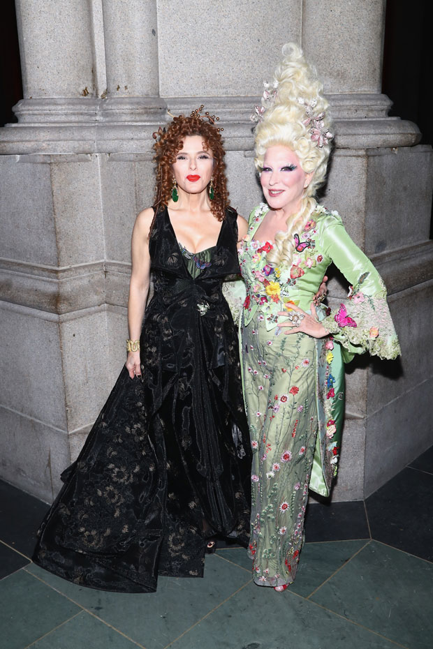 Bernadette Peters and Bette Midler pose together at Hulaween, the annual benefit for the New York Restoration Project.