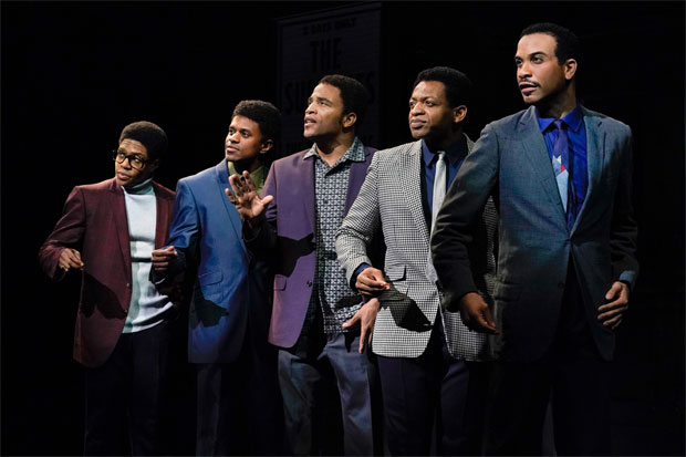 Ephraim Sykes (David Ruffin), Jeremy Pope (Eddie Kendricks), James Harkness (Paul Williams), Derrick Baskin (Otis Williams), and Jared Joseph (Melvin Franklin) in the world premiere of Ain't Too Proud—The Life and Times of The Temptations at Berkeley Repertory Theatre.