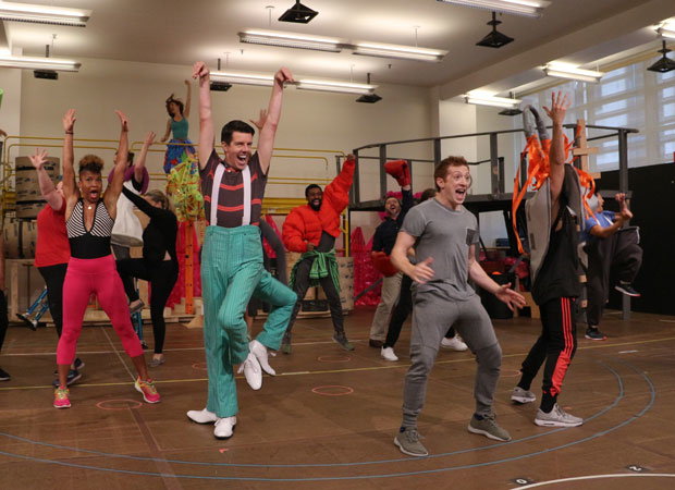Gavin Lee, Ethan Slater, and the company of SpongeBob SquarePants in rehearsal at the New 42nd Street Studios.