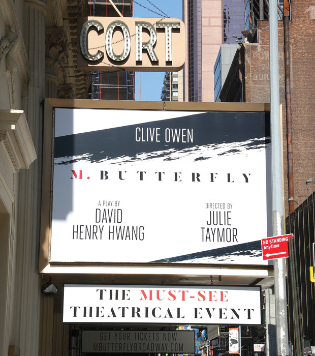 The Cort Theatre marquee advertising M. Butterfly.