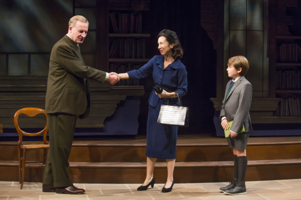 Daniel Gerroll, Robin Abramson, and Jack McCarthy in a scene from the Fellowship for Performing Arts production of Shadowlands, directed by Christa Scott-Reed, at the Acorn Theatre.